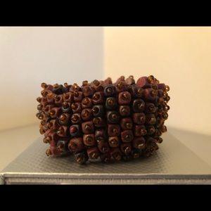 Wood and bead elastic bracelet